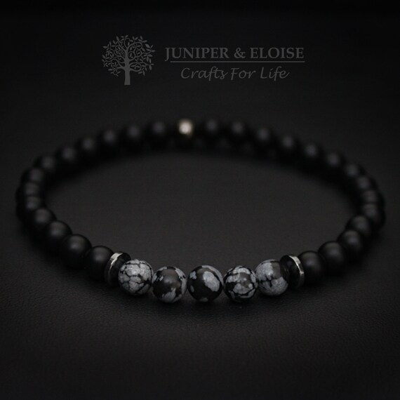 90e6b3070 unique gifts Mens Bracelet 6mm Black Onyx Bracelet Gemstone | Etsy