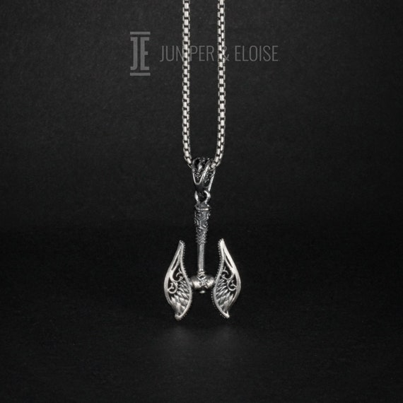 Silver War Axe Necklace Dual Winged Axe Necklace Mens Etsy