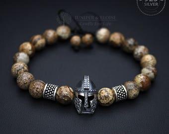 Gladiator Bracelet, Helmet Bracelet, Men's Bracelet, Mens Gift, Spartan Bracelet, 925 Silver Helmet charm, Karkötő, Pulseira, náramok