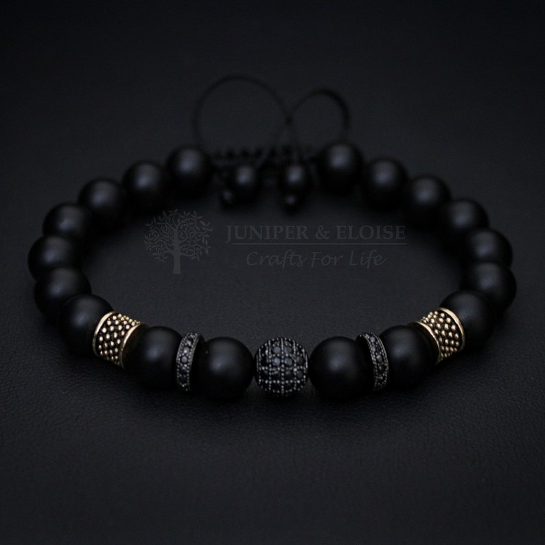677286439638 Unique gifts Mens Bracelet Matte Womens Jewelry Black
