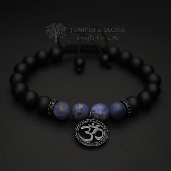 Om Bracelet Mala Beads Wrist Mala Yoga Beads Healing Etsy