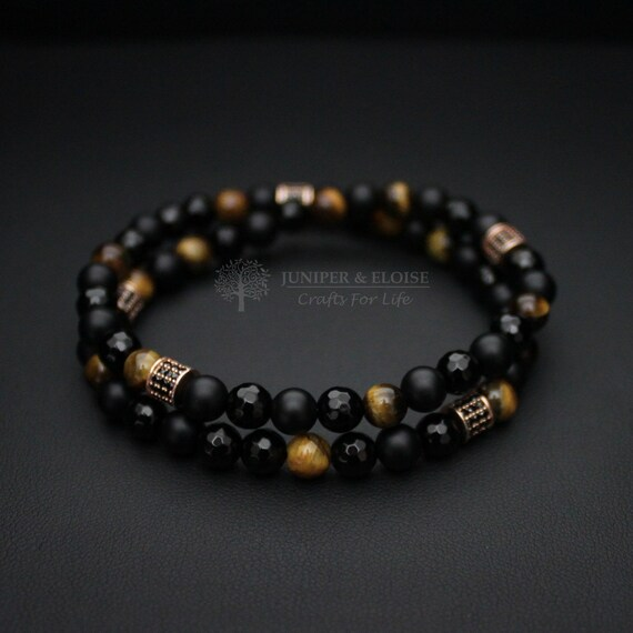 Top Christmas Gifts For Men, Men\'s Black and Gold Bracelet, Double Layered  Bracelet, Stretch Bracelet, Elastic Bracelet for Men