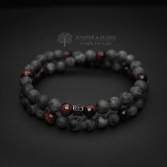 Top Christmas Gifts For Men, Men\'s Bracelet, Double Layered Bracelet, Matte  Gray Armband, Stretch Bracelet, Elastic Bracelet for Men