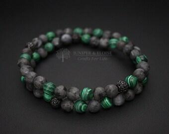 Men's Bracelet, Double Layered Bracelet, Matte Gray Armband, Stretch Bracelet, Elastic Bracelet for Men