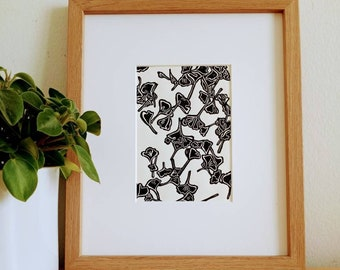 Ginkgo II original 5x7 unframed linocut print on soft white cardstock. Handcarved and handprinted. Gallery wall art, linocut art, 5x7 art.