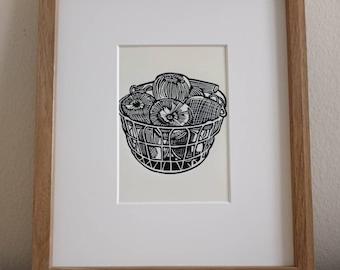 Basket of Apples original 5x7 handmade linocut print, unframed (soft white). Kitchen art, kitchen print, food art, food print, 5x7 art