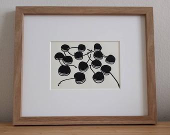 Cherries original 5x7 handmade linocut print, unframed. Kitchen art, kitchen print, linocut print, linocut art, cherries art, cherry art