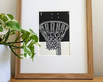 Basketball Hoop original 5x7 linocut print, unframed, on soft white cardstock. Basketball art, basketball print, sports art, sports print.