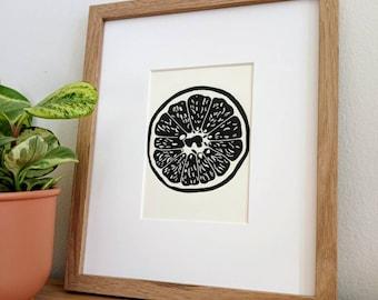 Grapefruit original 5x7 handmade linocut print, unframed (soft white).  Kitchen art, dining room art, gallery wall art, 5x7 linocut, 5x7 art