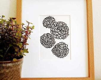 Dahlias original handmade 5x7 linocut print, unframed, on soft white cardstock. Flower art, flowers print, gallery wall art, linocut art.