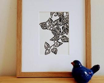 Ivy original handmade 5x7 linocut print, unframed, on soft white cardstock. Gallery wall art, plant art, ivy print, handcarved, 5x7 art.