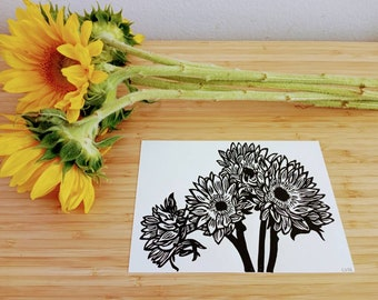 Sunflowers original handmade 5x7 linocut print, unframed, on soft white cardstock. 5x7 art, 5x7 linocut, gallery wall art, sunflower art