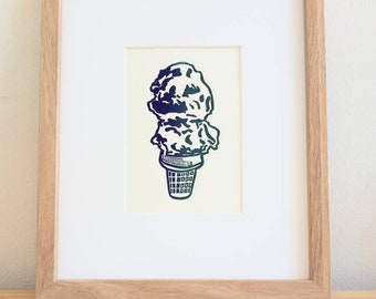 Ice Cream Cone original handmade 5x7 linocut print, unframed, with both blue and green ink on soft white cardstock. Kitchen art, food art.