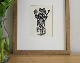 Tulips original 5x7 handcarved and handprinted unframed linocut print, on soft white cardstock  Flower art, tulip art, gallery wall art.