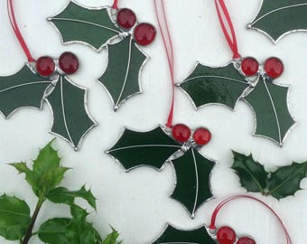 Stained Glass Holly Sun Catcher,Deep Green & Red Glass,Single or Twin Leaf,Glass Christmas Tree Decoration,Stocking Filler,High Quality