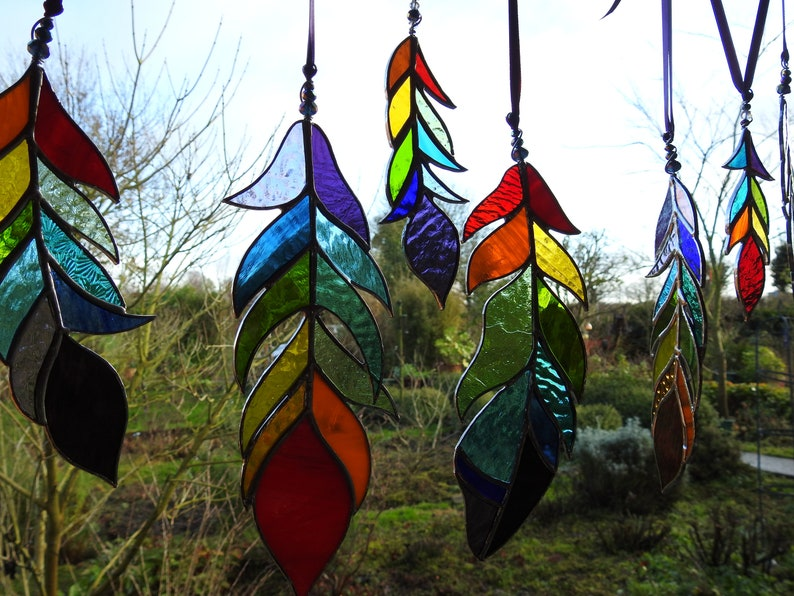 Stained Glass Feather Sun CatcherAny Colour MixBespoke Glass 9 inches