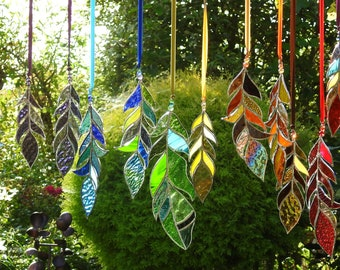 """Stained Glass Feather Suncatcher,Any Colour Mix,Bespoke Glass Art,Native American,Tribal,Fantasy,Christmas,Birthday Gift,OOAK,7"""" to 10"""""""