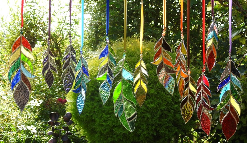 Stained Glass Feather SuncatcherAny Colour MixBespoke Glass 8 inches