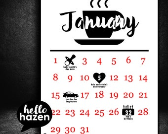 2017 Printable Calendar, Infographic Calendar, Customizable Calendar, 8.5 by 11 Calendar