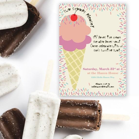 Ice Cream Invitation Ice Cream Birthday Invitation Ice Cream Party Invitation Ice Cream Card Ice Cream Invite Little Girl Invitation