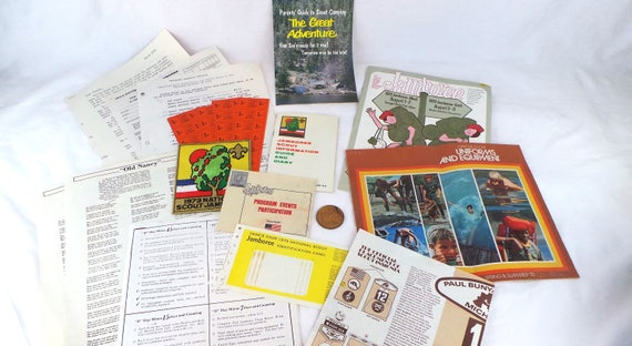 1973 Boy Scout Jamboree Collection, Boy Scouts Vintage Books, BSA Events,  Boy Scouts Patches, BSA Coins