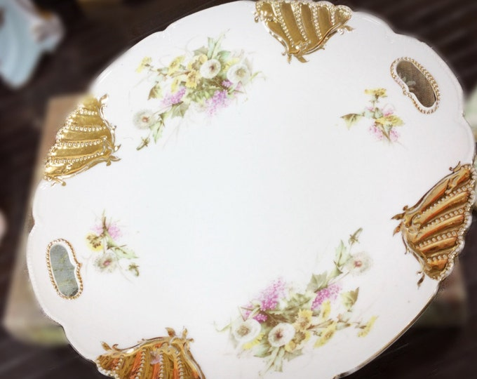 Gold Gilt Floral English Cake Plate, Double Handled Cake Plate Perfect for Weddings, Tea Set, Tea Party #830