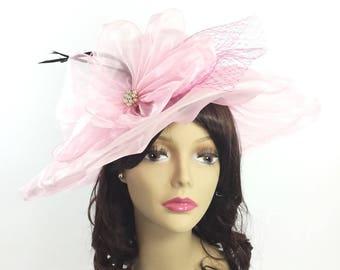 Elegant Ladies Sheer Pink Tea Party Hat, Pink Summer Hat, Pink Dress Up Hat For Weddings, Dress up, Bridal Showers, Tea time #A767