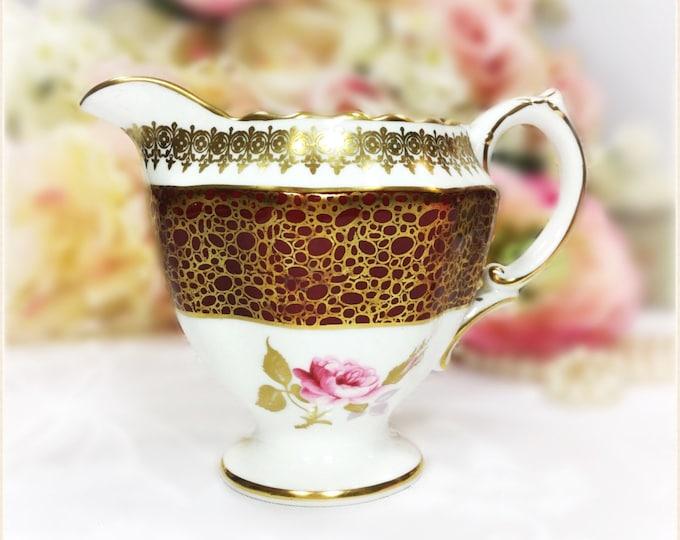 Burgundy Gilt Hammersley English Creamer for Tea Set Tea Party, Wedding. English Bone China #A96