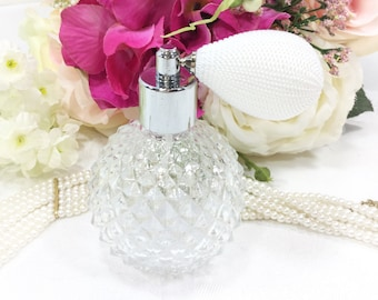 White Clear Glass Cut Perfume Atomizer, White Perfume Spray Bottle for Vanity Decor or Boudoir Decor, Hollywood Regency #B330