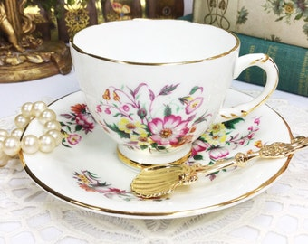 Sutherland Floral Sprays Fine Bone China English Tea Cup & Saucer, Party, Wedding Shower, Tea Time, Bridal, Tea Party, Gift  #732