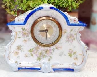 Vintage Blue Floral Victorian Style Mercedes Boudoir Mantel Porcelain Wind Up Clock Shabby Chic Home Decor, Prop, Wedding Gift #403