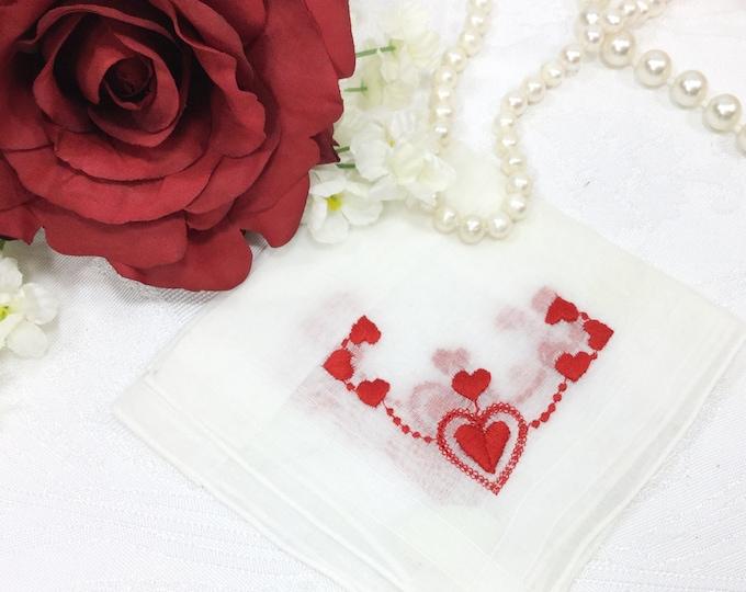 Valentine Hearts Embroidered Ladies Cotton Handkerchief, Victorian Boudoir, Hanky, Shabby Chic, Vanity, Tea Time #A658
