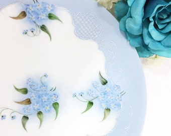 Hand Painted Blue Floral French Plate, Handpainted J.P. France Porcelain Plates, Display Plate, Wall Decor, Dinnerware, Shabby Chic #A665
