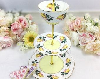 3 Tier Server, Clare Yellow Roses, English Bone China, Tray Tid Bit Dish, Jewlery Organizer, Dessert Tray for Wedding, Tea Time #A292