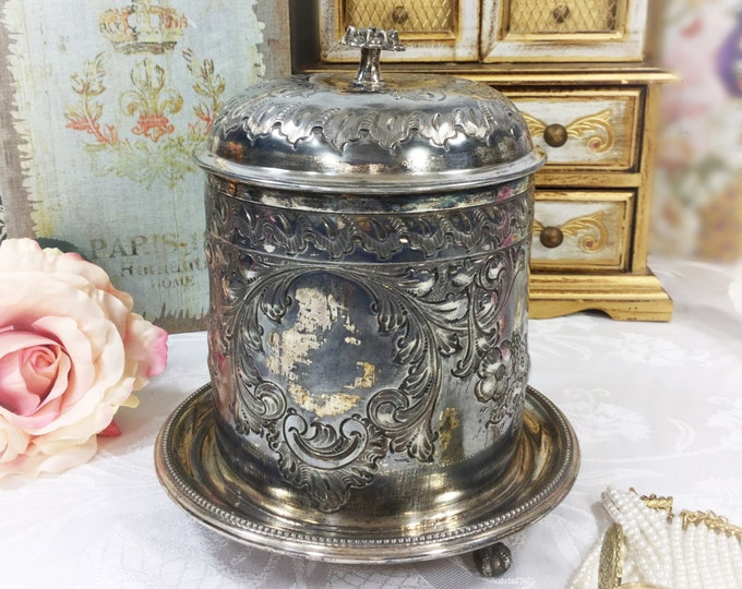 Ornate Antique Silver Plated JD&S EP Tea Caddy, Tea Box, Biscuit Box, Silver Canister, Claw Feet, Cartouche for Engraving #998