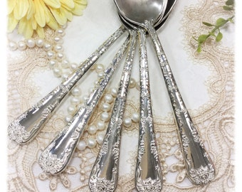 Vintage Ornate WM Rogers & Son Flatware, Set of 5 Tablespoons, Hollywood Regency, Replacement Flatware, Tableware #969