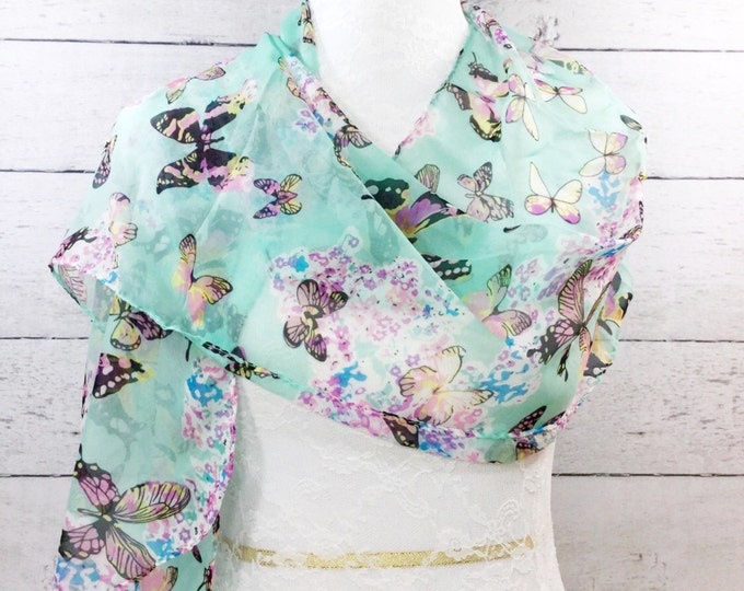 Stunning Mint Green Ladies Chiffon Summer Scarf With Butterlies, Long Scarf, Headwrap, Shawl Ladies Accessories #047