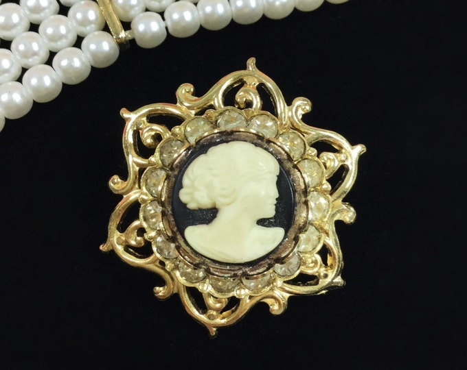 Vintage Rhinestone Black Cameo Brooch, Cameo Pin, Cameo Jewelry, Victorian Style #A13
