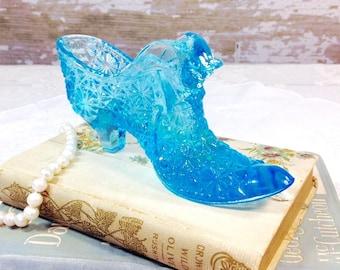 Vintage Fenton Blue Aqua Glass Shoe,  Fenton Aqua Blue Glass Boot, Panther Cat Head, Vanity Desk Decor, Mothers Day #374