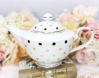 Gold Polka Dot Porcelain Teapot for Tea Set, Tea Party, Wedding. Grace's Teaware Porcelain China #A106