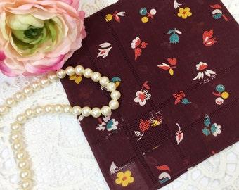 Burnt Maroon Square Floral Ladies Square Handkerchief, Victorian Boudoir, Hanky, Valentine's, Shabby Chic, Vanity, Tea Time #797