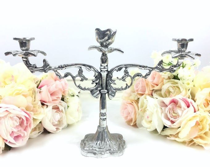 Elegant Silver Pewter 3 Arm Candle Candelabra Formal Dining Candle Holder, Vintage Dining, Perfect for Tea Party, Wedding #A389