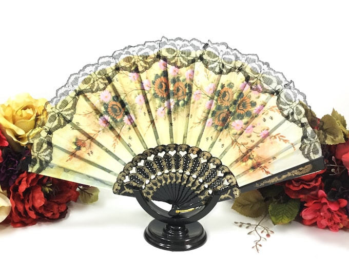Orange Yellow Floral Black Spanish Lace Floral Folding Fan For Weddings, Dress up, Bridal Showers, Gift, Tea Party, Tea Time, Church A367
