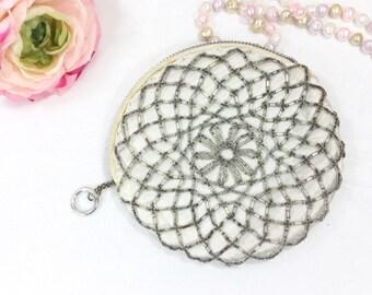 Vintage Circular Beaded Clutch, Satin Beaded Hand Bag, Victorian Beaded Satin Purse, Beaded Coin Purse #A705