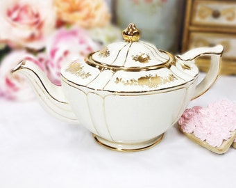 Biege Sadler Gold Floral Teapot Made in England # 1992 For Tea Party, Wedding, Shower, Anniversary, English Teapot #A70