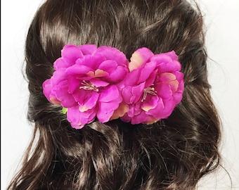 Boho Purple Camellia Flower Hair Comb, Flower Hair Pin, Holiday Gift, Bridesmaid Gift, Birthday, Wedding #A154