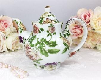 Royal Danube Gold Garden Floral Teapot Coffee Pot England For Tea Set, Party, Wedding, Bridal or Baby Shower, Gift, Tea Time #069, 705