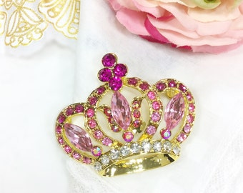 Pink Royal Crown Brooch, Brooch Pin For Mothers Day, Bridesmaid Gift, Wedding, Birthday Gift # A616