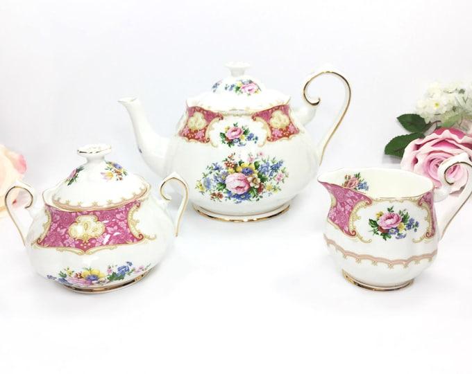 3 Piece Royal Albert Lady Carlyle Teapot Set, Lady Carlyle Large Teapot, Creamer & Covered Sugar Bowl, English Teaset #A876