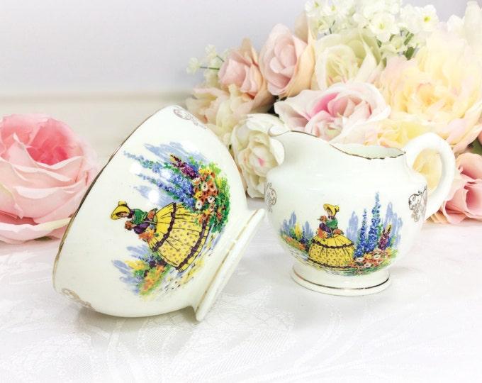 Crinoline Lady Gold Filigree Bone China English Open Sugar Bowl & Creamer for Tea Set Tea Party, Wedding. English Bone China #A219